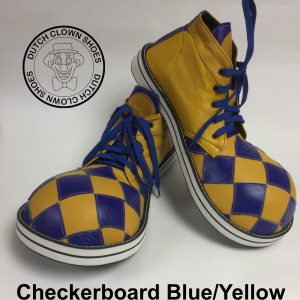 Clowns Schoenen Checkerboard Blue-Yellow