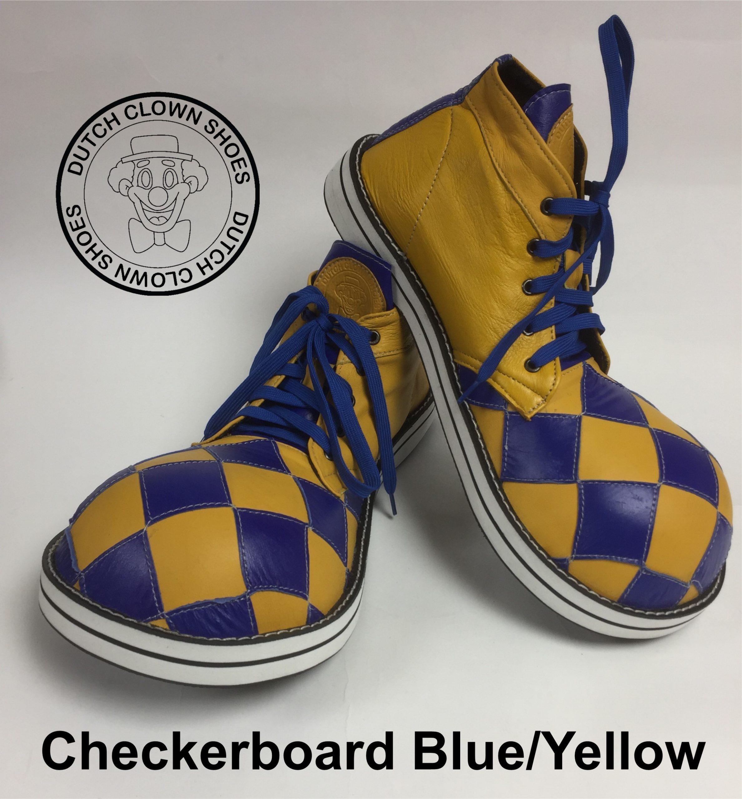 Clowns Schoenen Checkerboard Blue-Yellow