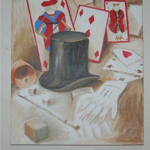 Schilderij Hat Cane & Cards